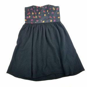 Anthropolgie Maple Black Wool Rose Strapless Dress